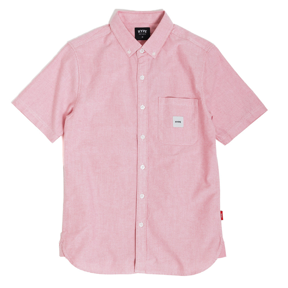 Signature Square Label Oxford Short Sleeve Shirt | Heather Red