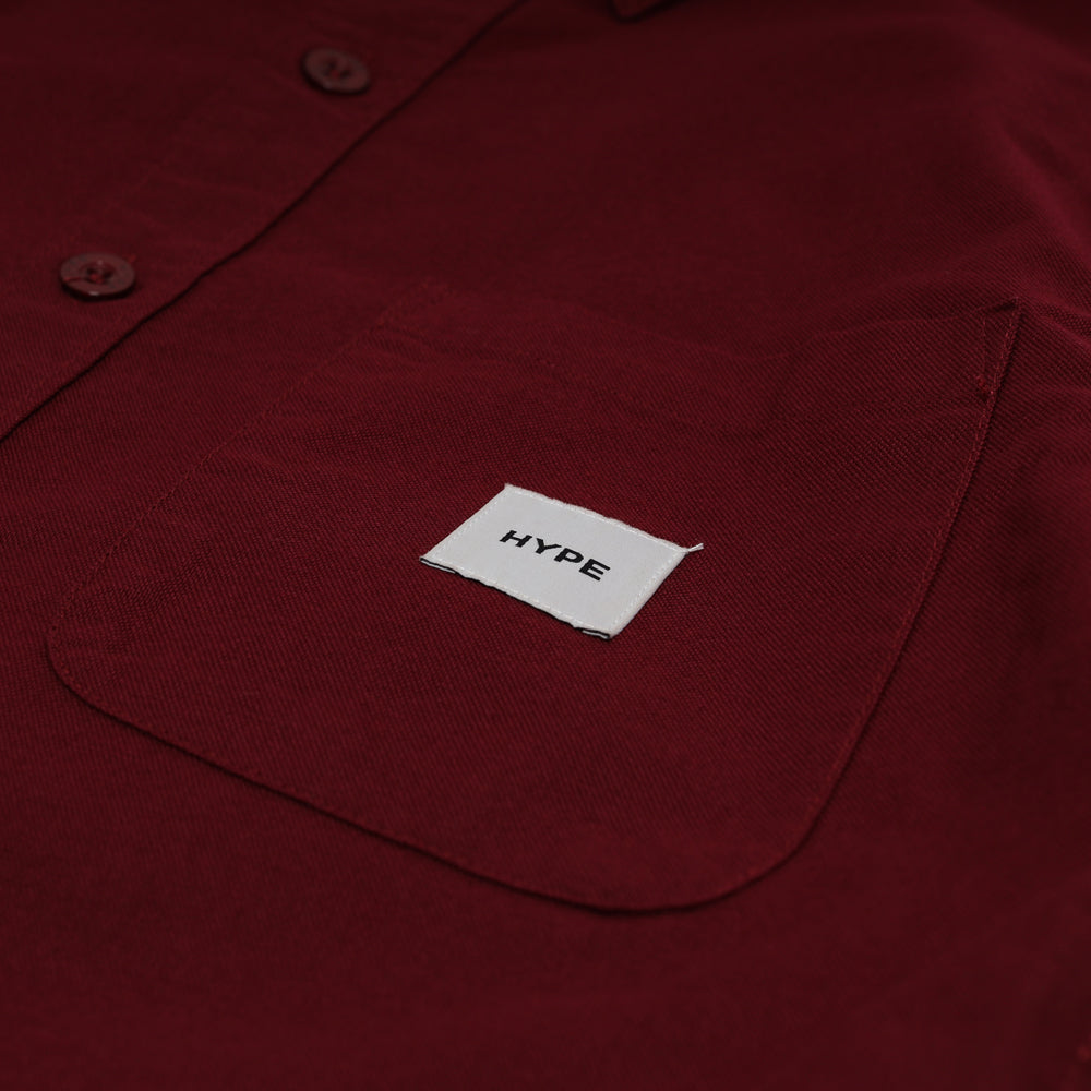 Signature Square Label Oxford Short Sleeve Shirt | Maroon
