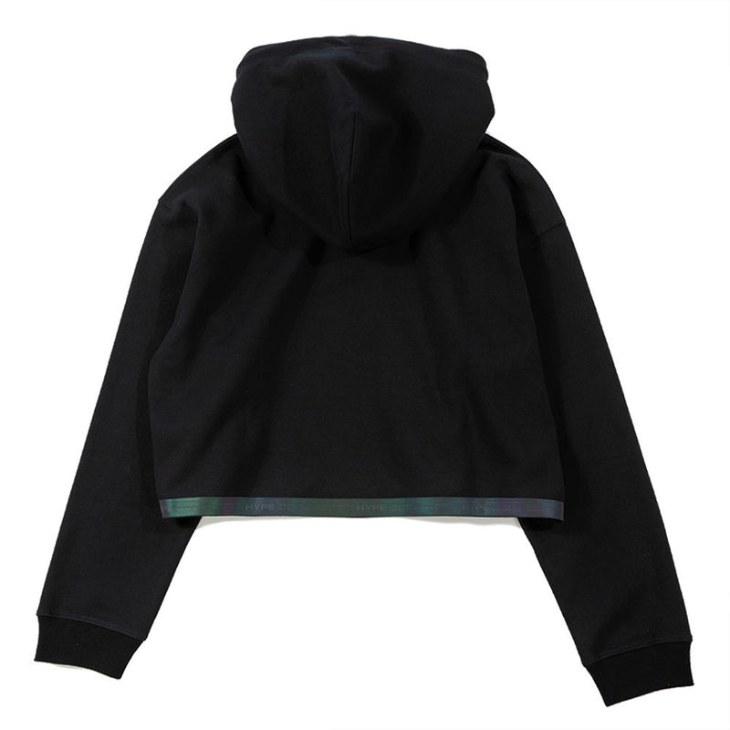 Fade To Black Women Spectrum Crop Pullover Hoodies | Black