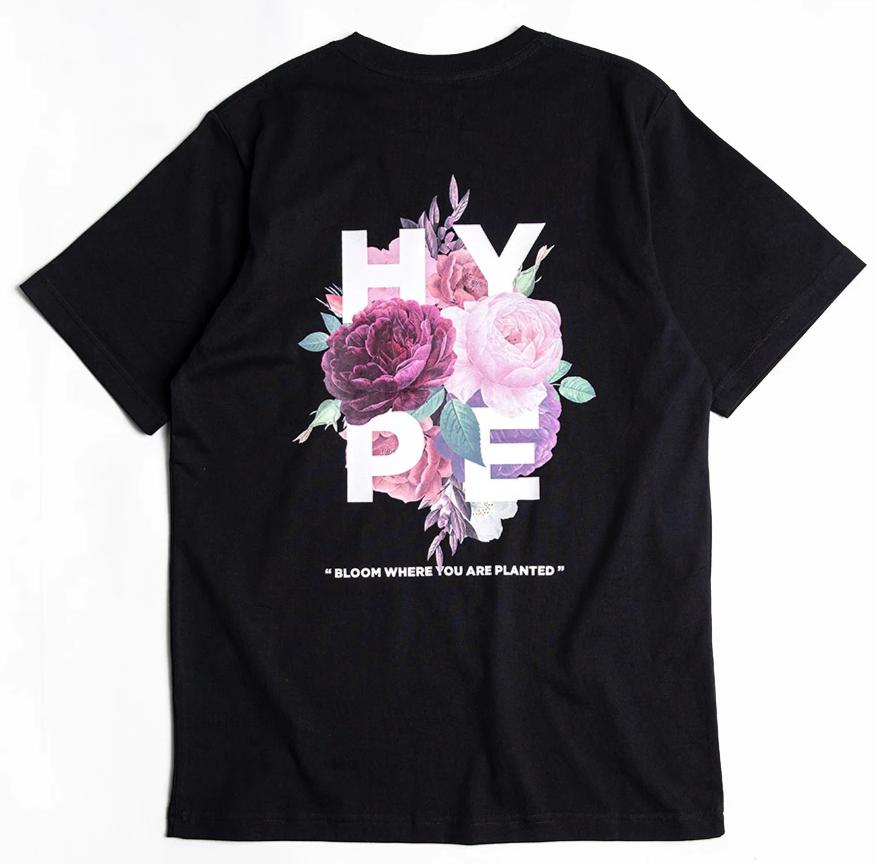 Seasonal Dark Floral Bloom Tee | Black