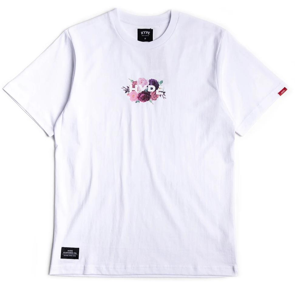 Seasonal Dark Floral Bloom Tee | White