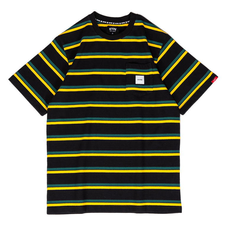 Signature Square Label Stripe Pocket Tee | Black