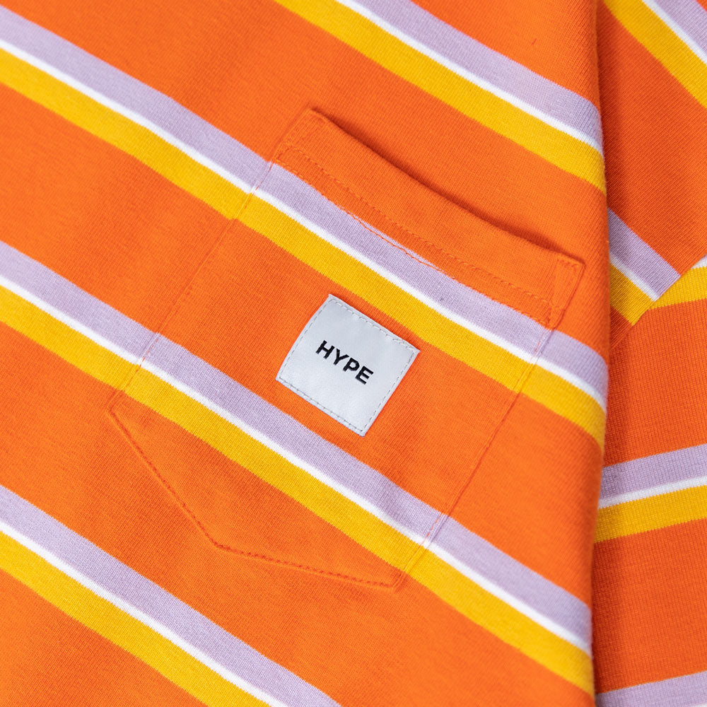 Signature Square Label Stripe Pocket Tee | Orange
