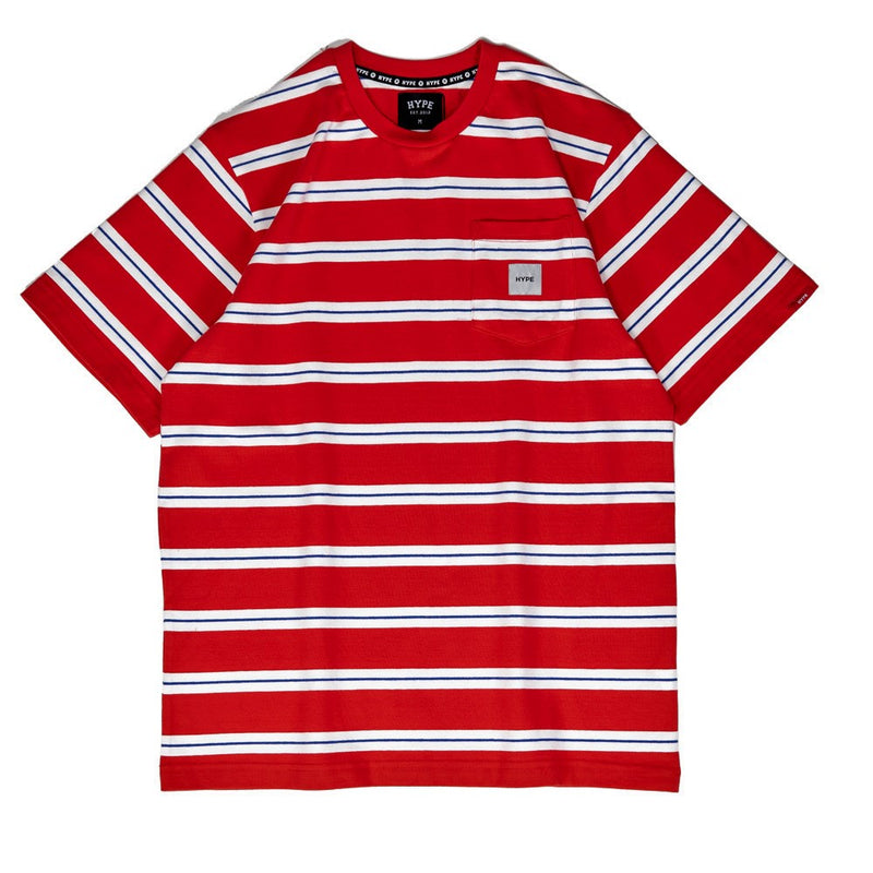 Signature Square Label Stripe Pocket Tee | Red