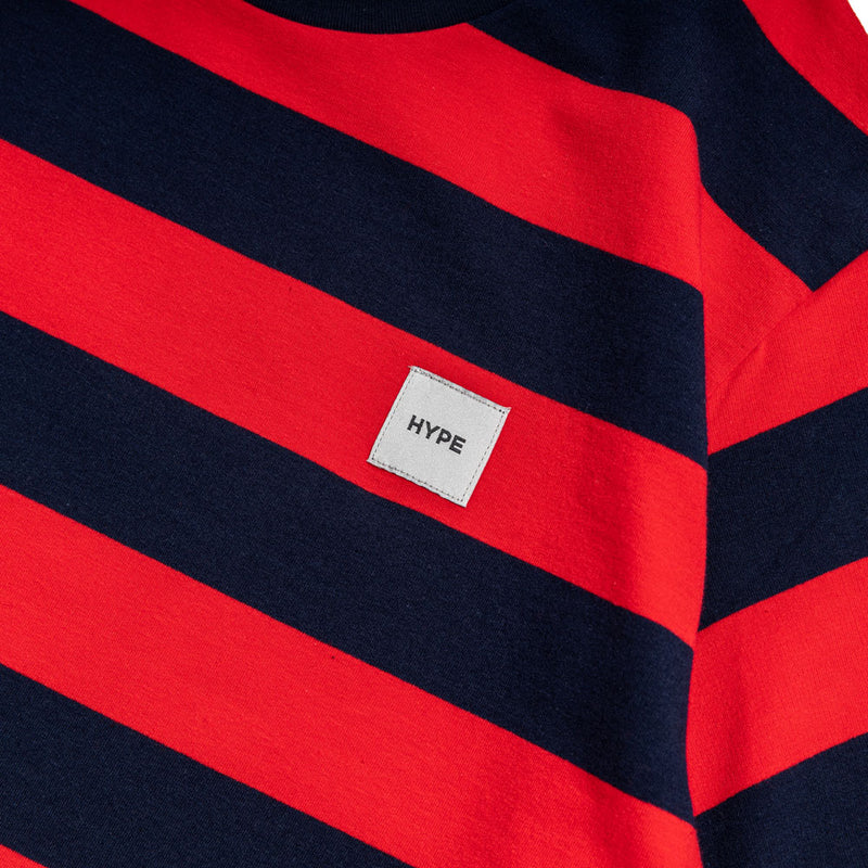 Signature Square Label Stripe Tee | Navy/ Red