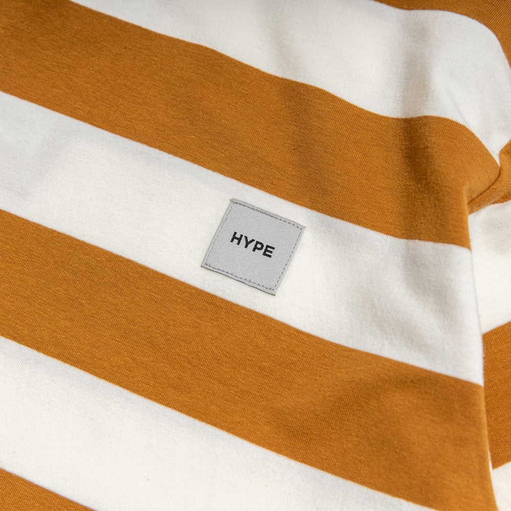Signature Square Label Stripe Tee | Brown / White