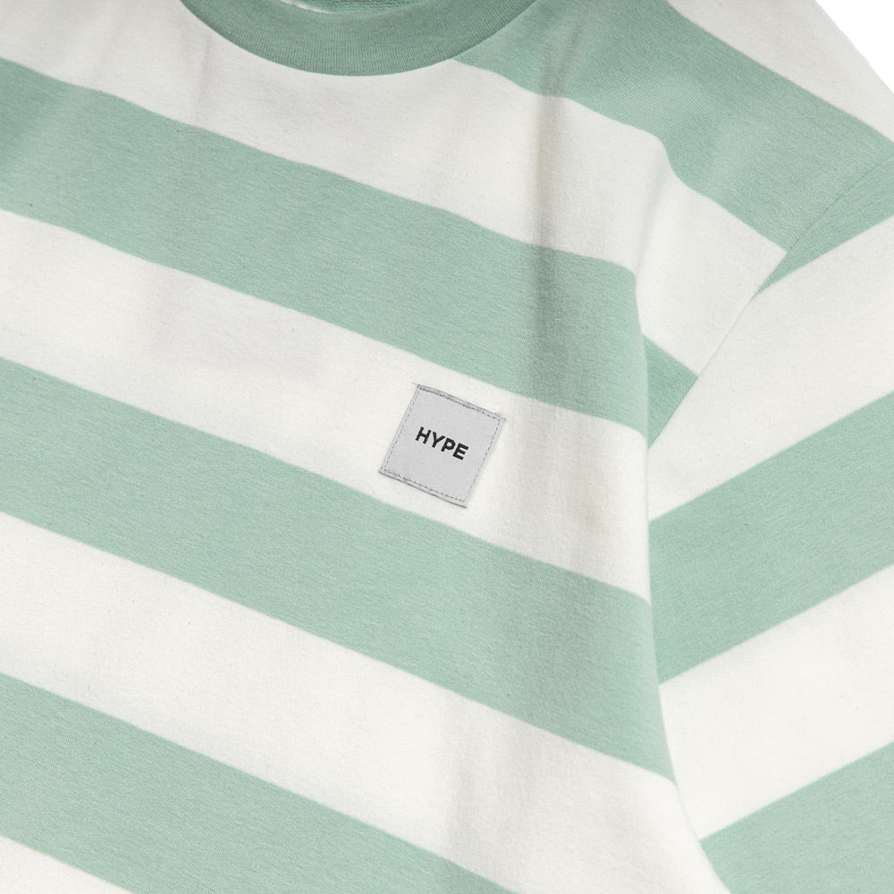Signature Square Label Stripe Tee | Green / White