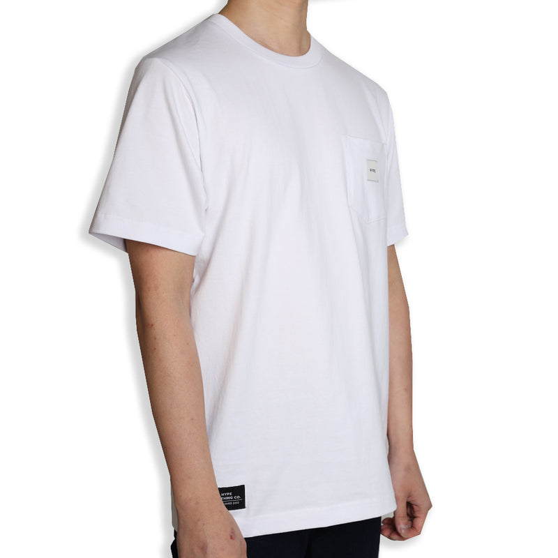 Signature Square Label Pocket Tee | White
