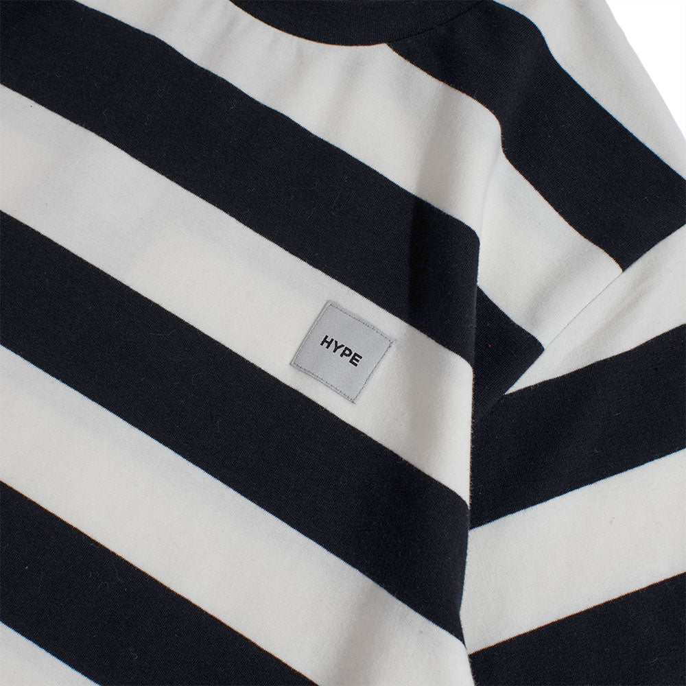 Signature Square Label Stripe Tee | Black/ White