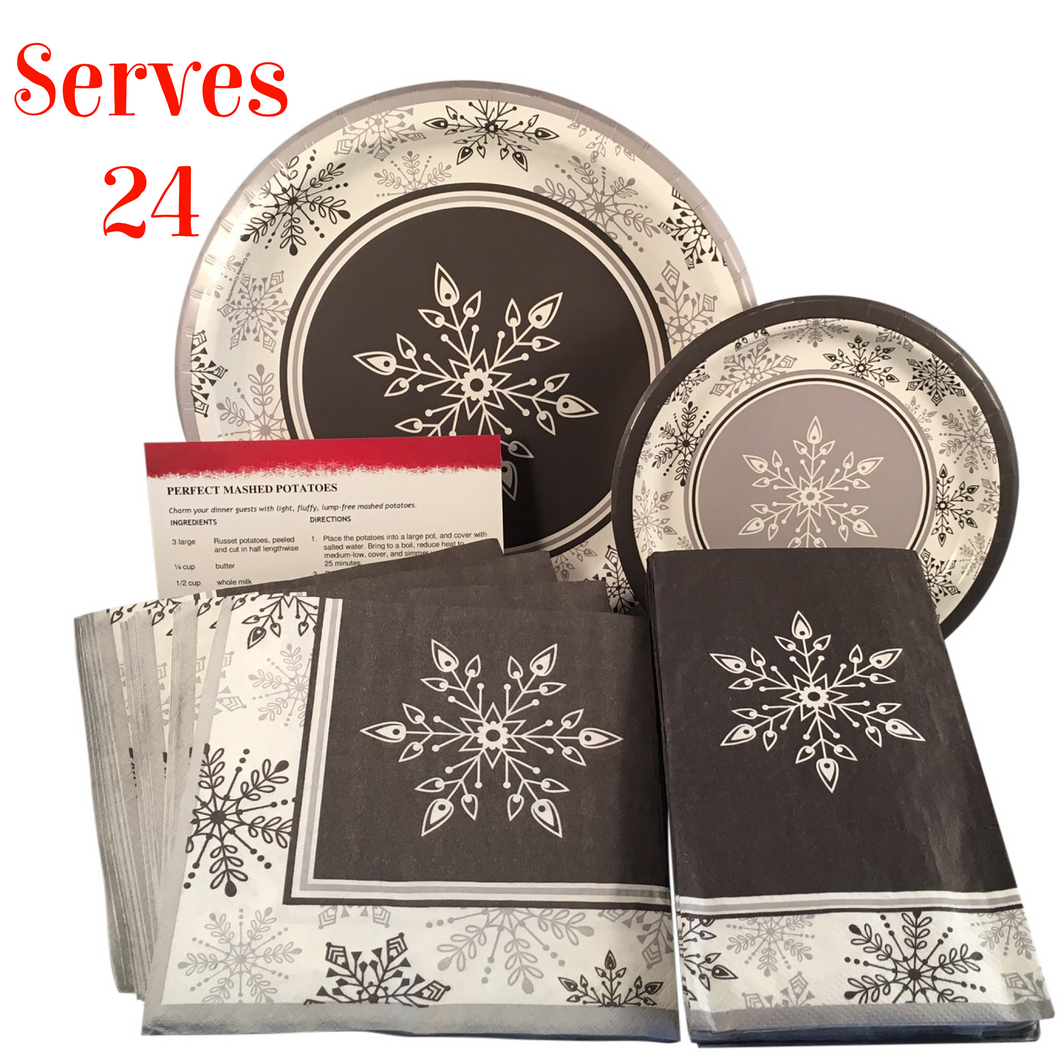 Shimmering Snowflakes Christmas Paper Plates and Napkins Serves 24 with Recipe Card (129 Pieces)  sc 1 st  USPrimeRetail & Shimmering Snowflakes Christmas Paper Plates and Napkins Serves 24 ...