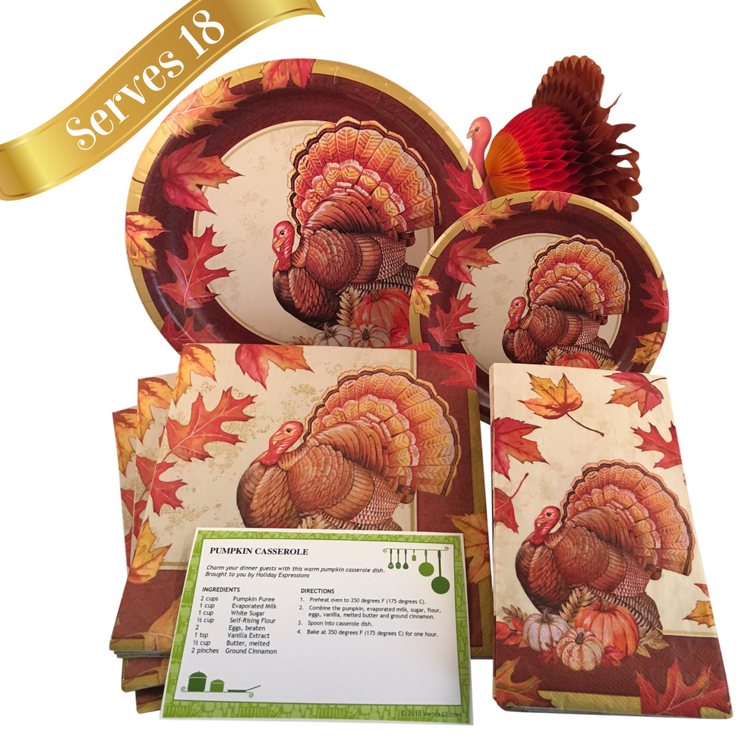 Thanksgiving Turkey Holiday Tableware Set Paper Plates and Napkins ...