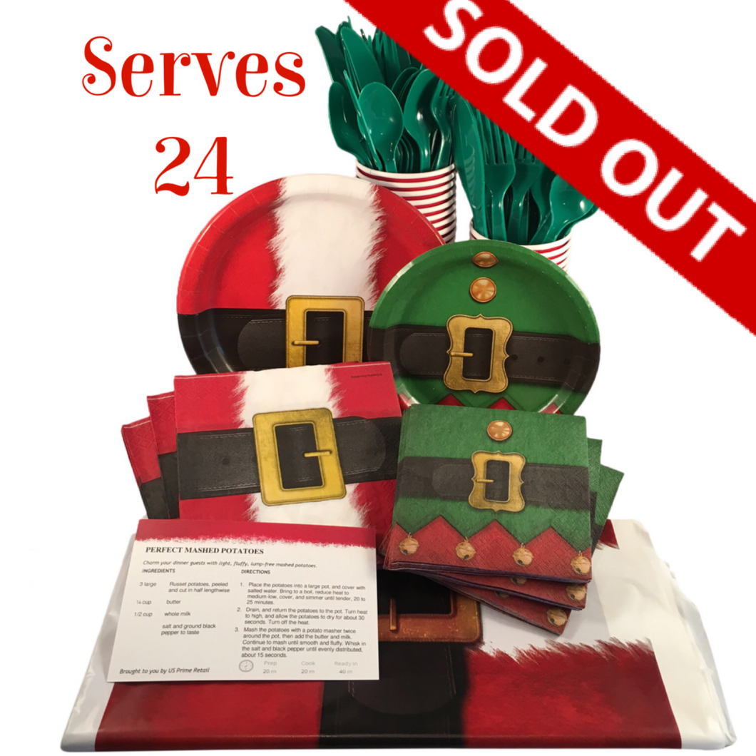 christmas holiday santa suit disposable tableware set paper plates and napkins serves 24 guests with recipe