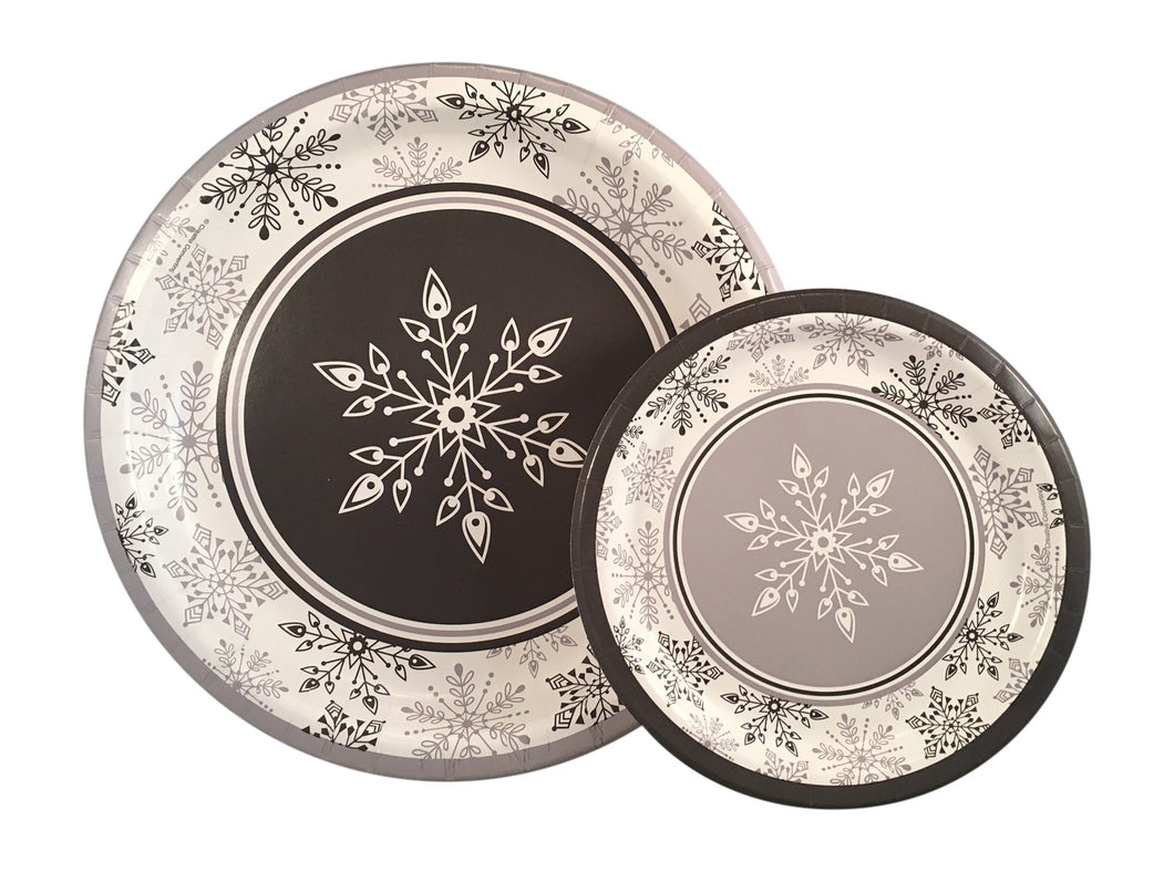 Shimmering Snowflakes Christmas Paper Plates and Napkins Serves 24 ...