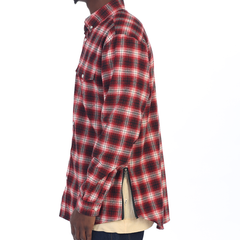 Red Side Zip Flannel