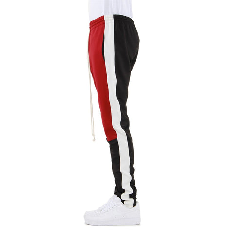 Red/Black/White-Color Block Track Pants
