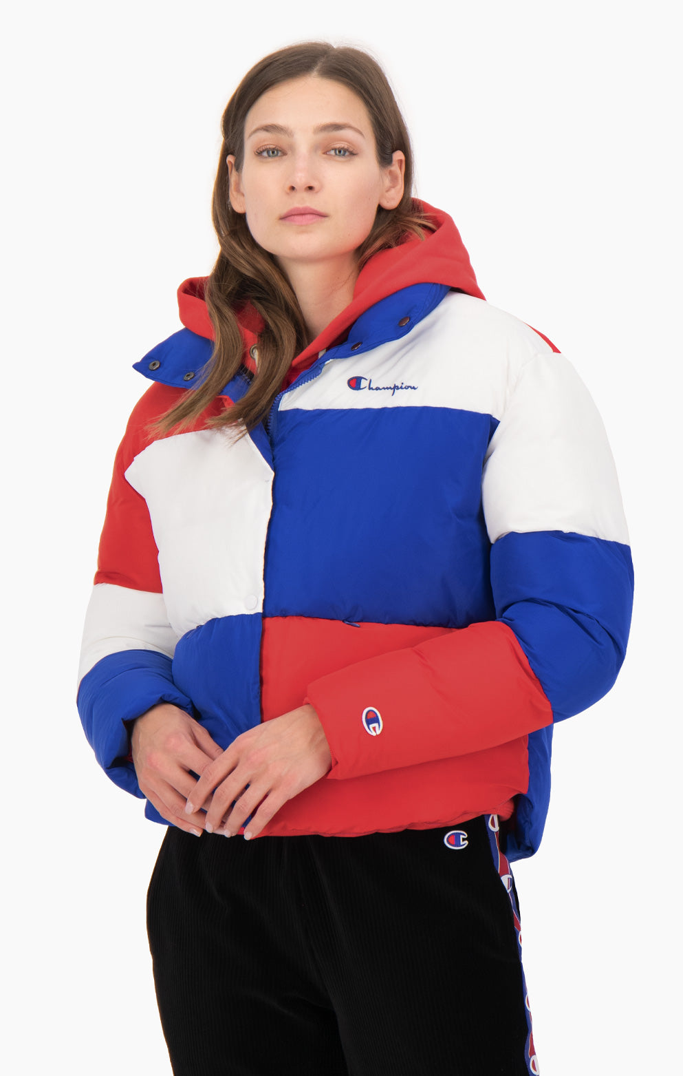 Color Block Cropped Puffer Jacket
