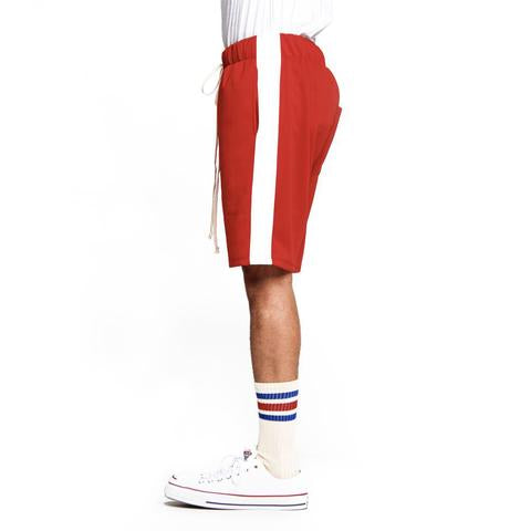 Red White-Track Shorts