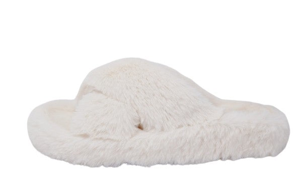 Cream Fur Slipper Sandals