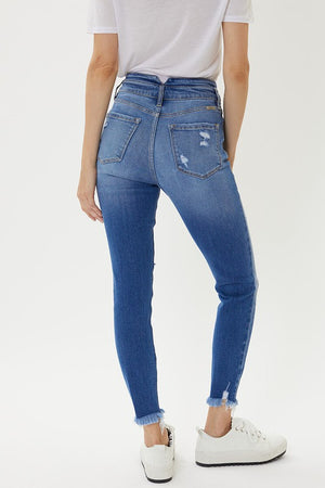 High Rise Button Skinny Ankle Jeans