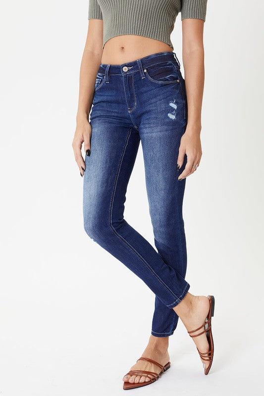Kan Can Mid Rise Ankle Super Skinny Distressed Jeans