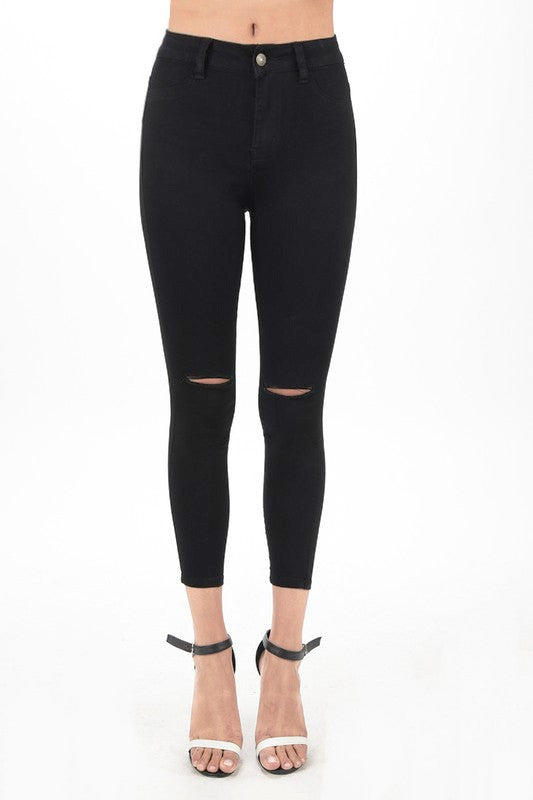 Black Knee Cut Skinny Jeans