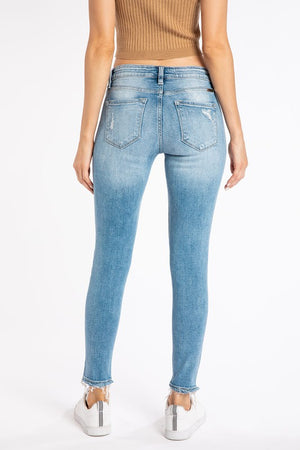 Mid Rise Ankle Skinny Distressed Jeans