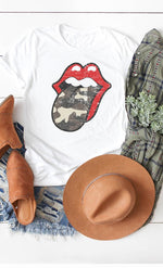 Camo Lips Graphic Tee