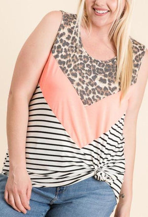 Curvy Leopard Stripe Color Block Tank Top