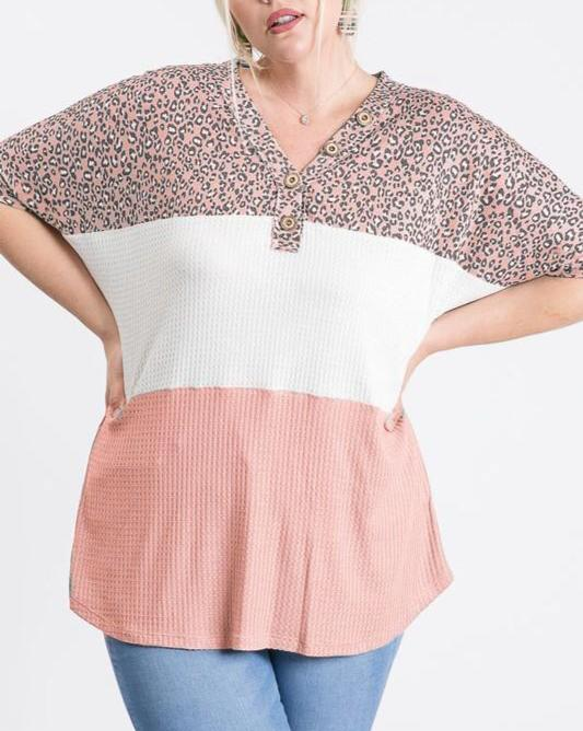 Curvy Leopard Color Block Top