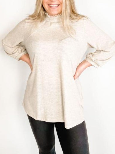 Oatmeal Smocked Mock Neck Top
