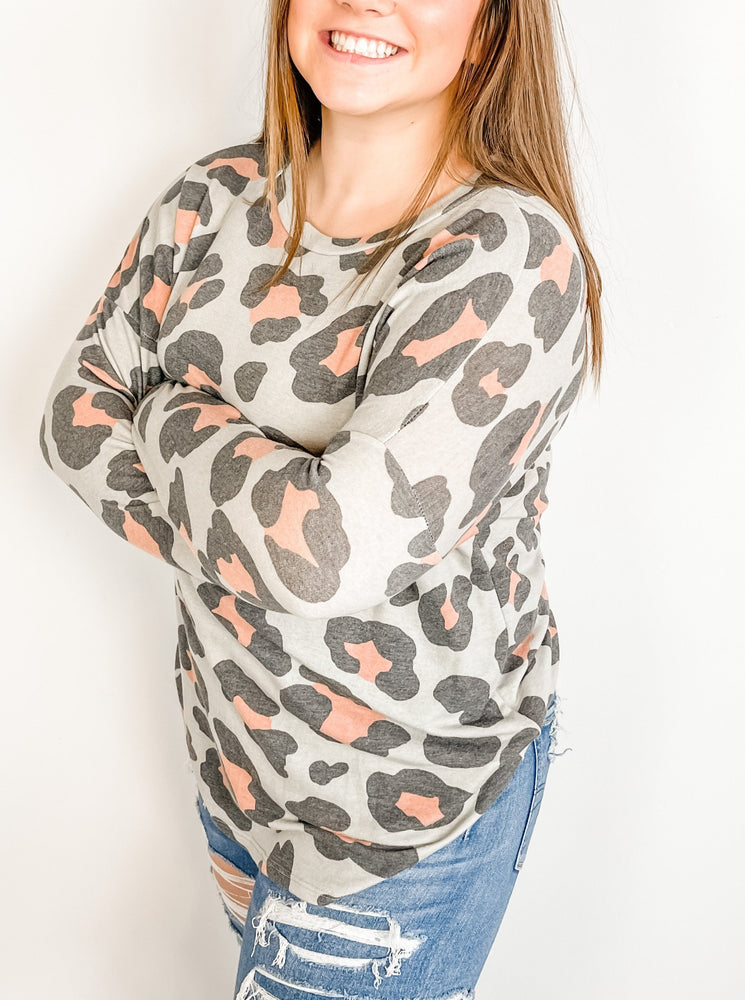 Light Olive Leopard Long Sleeve Top