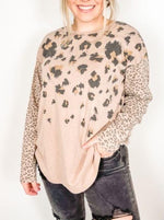 Mauve Long Sleeve Animal Printed Top
