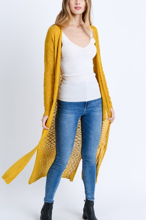 Knitted Long Line Cardigan With Pockets Mustard