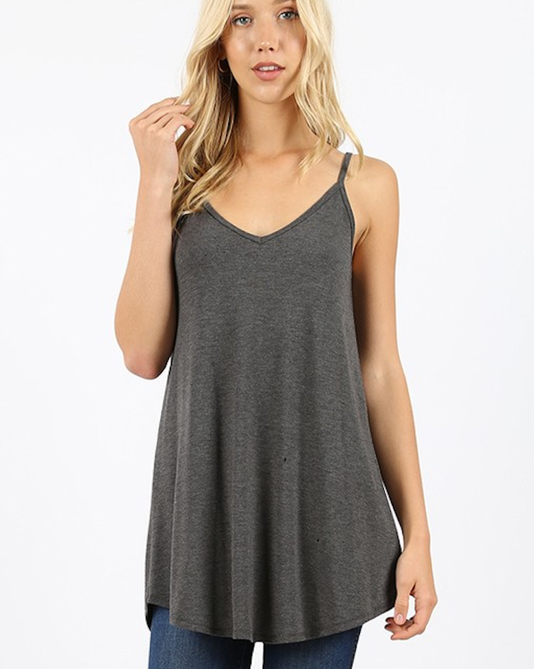 Charcoal Scoop Neck Reversible Cami Tank