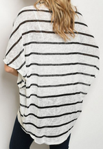 White/Black Striped Flutter Sleeve Cardigan