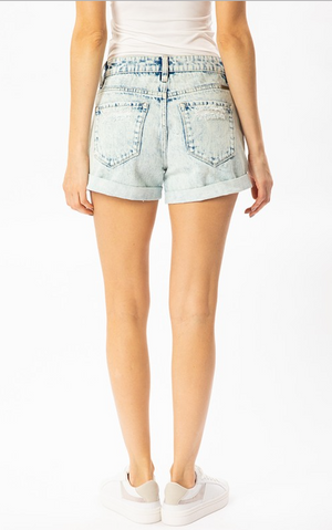 KanCan White Wash High Rise Short