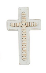 White Washed Beaded Cross