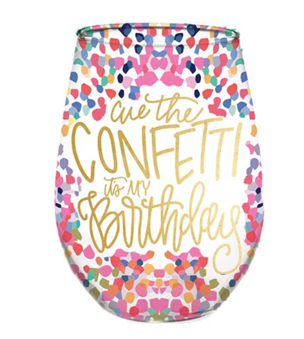Stemless Wine Glass | Cue Confetti