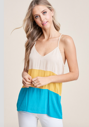 Yellow and Jade Tank Top