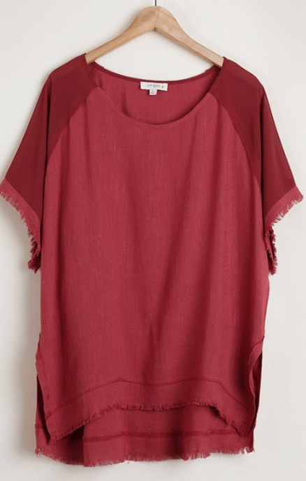 Red Clay Frayed Top