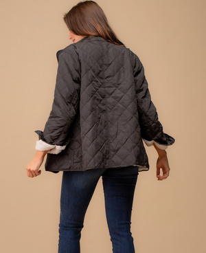 Black Quilted Fleece Lined Jacket with Utility Pocket