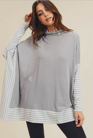 Silver Grey Oversize Cape Light Weight Sweater