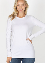 Cotton Crew Neck Long Sleeve Top