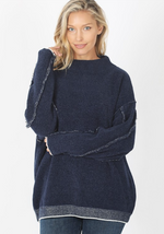 Navy Oversized Mock Neck Sweater