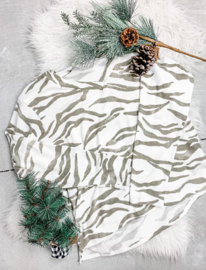 Ivory and Olive Zebra Print Top