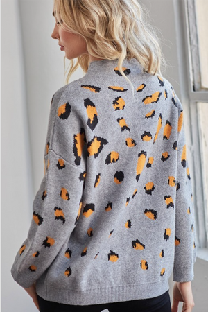 Heather Grey and Mustard Animal print top