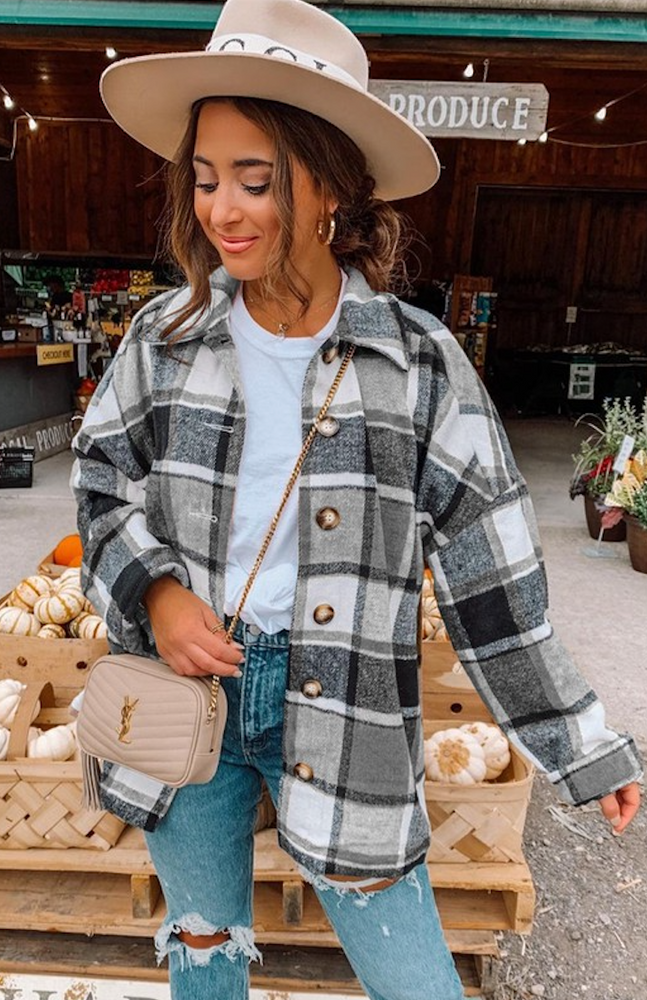 Flannel Shirt Thick Grid Print