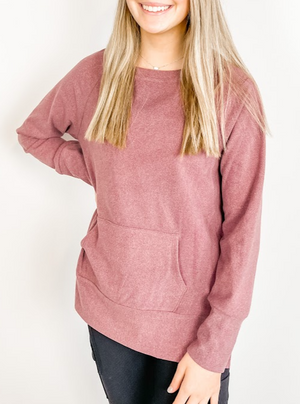 Berry Bushed Long Sleeve Top