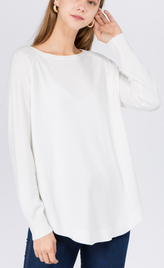Ivory Soft Boat Neck Long Sleeve Top