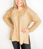 Chenille Knit Long Sleeve V-Neck Top